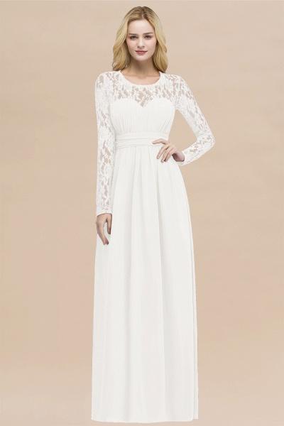 Elegant A-Line Chiffon Jewel Long Sleeves Ruffles Floor-Length Bridesmaid Dresses_2