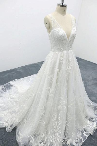 Elegant V-neck Appliques Tulle A-line Wedding Dress_6
