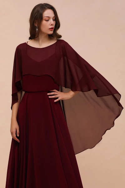 BM1087 Chiffon Burgundy Long Special Occasions Wrap_7