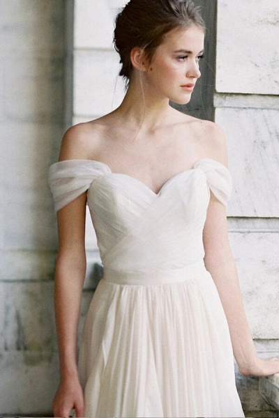 Ruffle Chiffon A-line Off Shoulder Wedding Dress_4