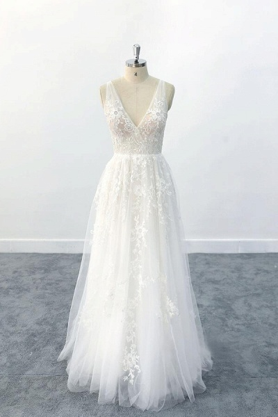 Elegant V-neck Appliques Tulle A-line Wedding Dress_1