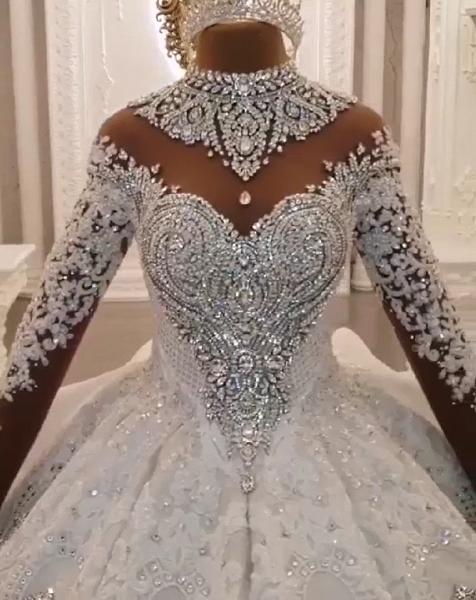 High Neck Train Long Sleeves Sparkle Applique Satin Ball Gown Wedding Dress_7