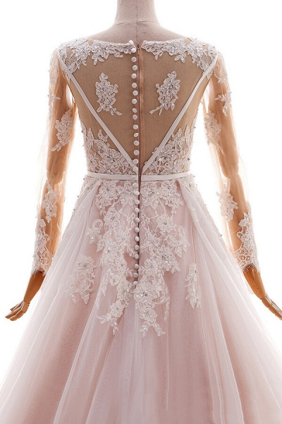 Long Sleeve Appliques Tulle A-line Wedding Dress_6