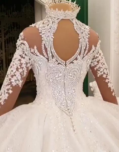 High Neck Train Long Sleeves Sparkle Applique Satin Ball Gown Wedding Dress_5