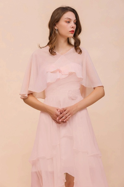 BM1086 Pink Ruffle Chiffon Special Occasions Wraps_4