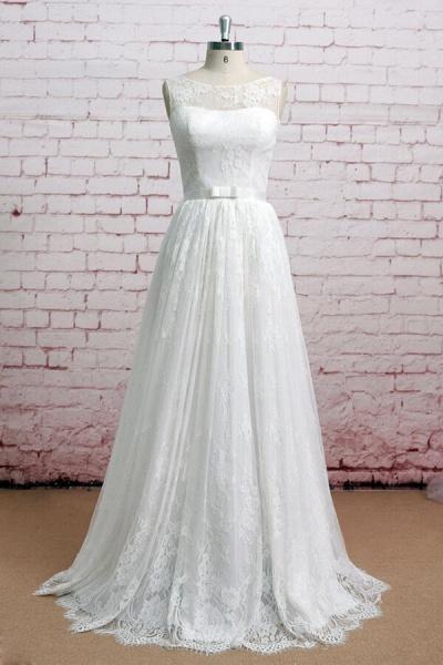 Graceful Illusion Lace A-line Wedding Dress_1