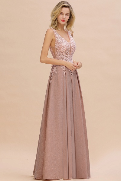Attractive V-neck Lace A-line Evening Dress_10