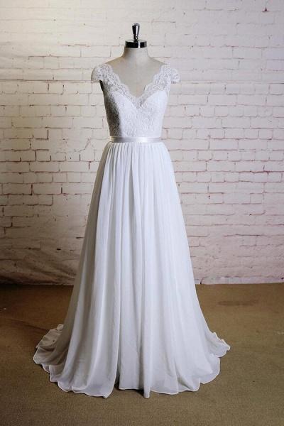 Cap Sleeve A-line Lace Chiffon Wedding Dress_1