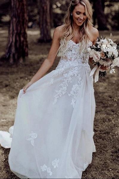 Spaghetti Strap A-line Applique Tulle Wedding Dress_2