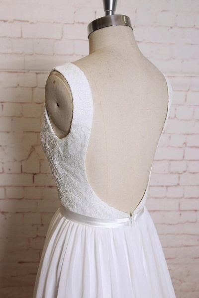 Square Neck Lace Chiffon A-line Wedding Dress_5