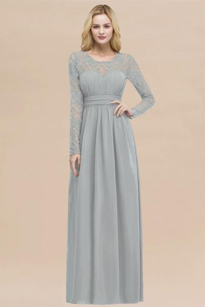 Elegant A-Line Chiffon Jewel Long Sleeves Ruffles Floor-Length Bridesmaid Dresses_30