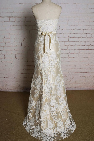 Strapless Appliques Tulle A-line Wedding Dress_3
