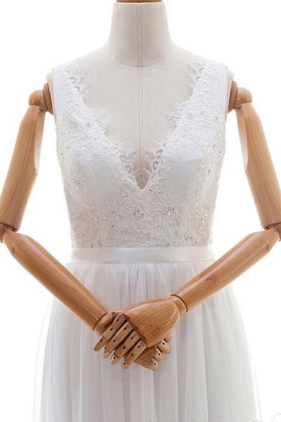 Awesome V-neck Lace Chiffon A-line Wedding Dress_4