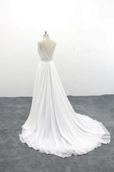 Spaghetti Strap Lace Chiffon A-line Wedding Dress_5