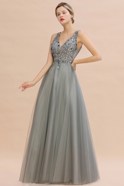 Fabulous V-neck Tulle A-line Prom Dress_8