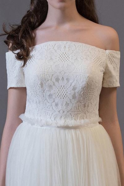 Off Shoulder Lace Tulle A-line Wedding Dress_5
