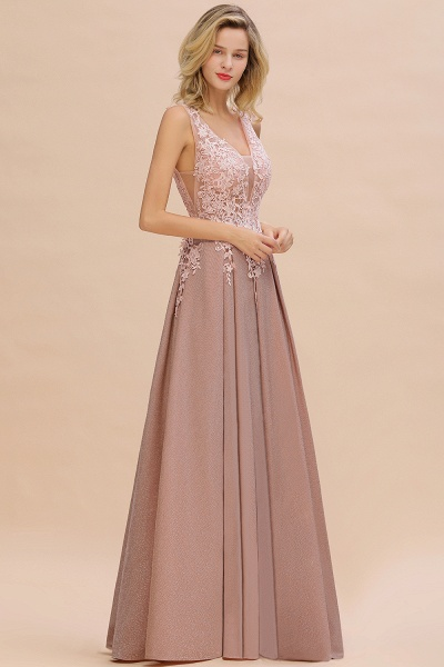 Attractive V-neck Lace A-line Evening Dress_18