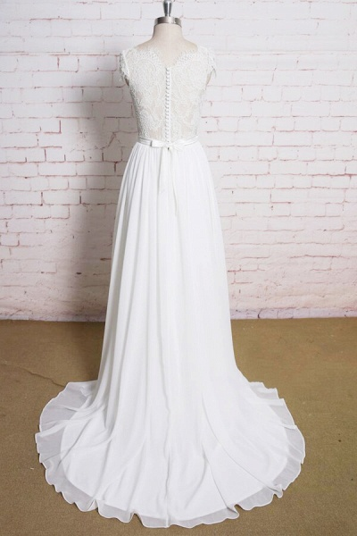 Lace Chiffon A-line Court Train Wedding Dress_3