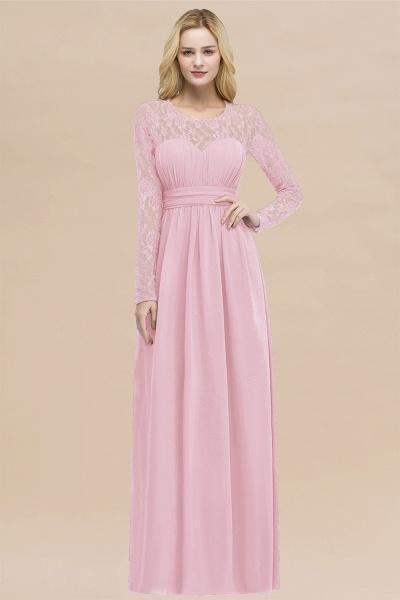 Elegant A-Line Chiffon Jewel Long Sleeves Ruffles Floor-Length Bridesmaid Dresses_4