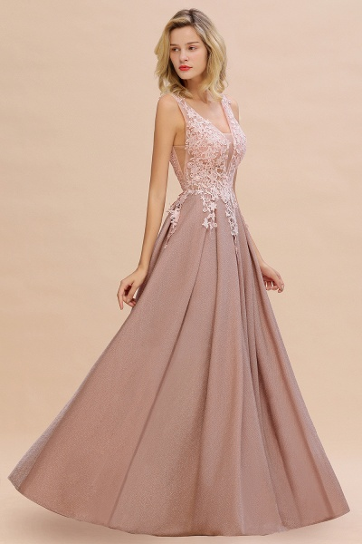 Attractive V-neck Lace A-line Evening Dress_7