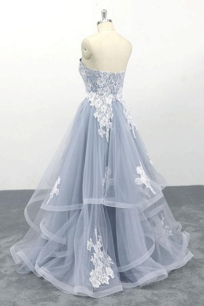 Amazing Strapless Lace Tulle A-line Wedding Dress_5