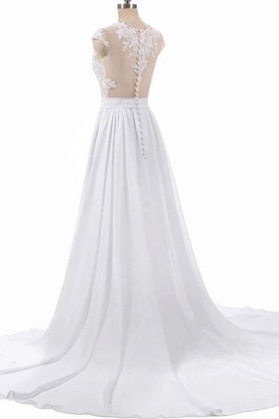 Cap Sleeve Appliques Chiffon A-line Wedding Dress_2