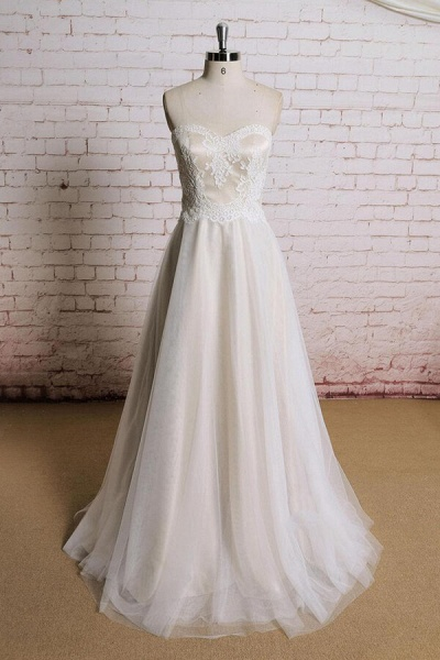 Awesome Strapless Lace Tulle A-line Wedding Dress_1