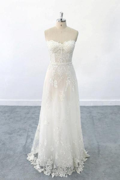 Appliques Strapless Tulle Sheath Wedding Dress_1