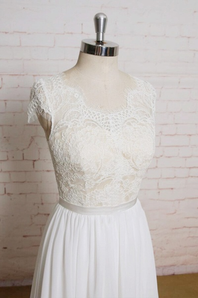 Lace Chiffon A-line Court Train Wedding Dress_4
