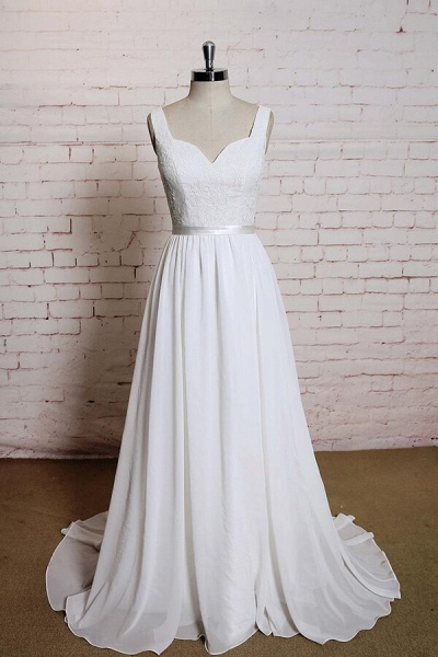 Square Neck Lace Chiffon A-line Wedding Dress_1
