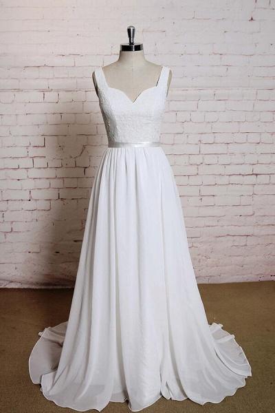Square Neck Lace Chiffon A-line Wedding Dress_1