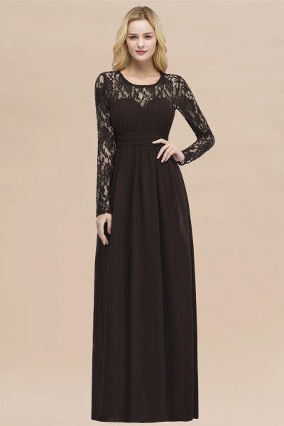 Elegant A-Line Chiffon Jewel Long Sleeves Ruffles Floor-Length Bridesmaid Dresses_11