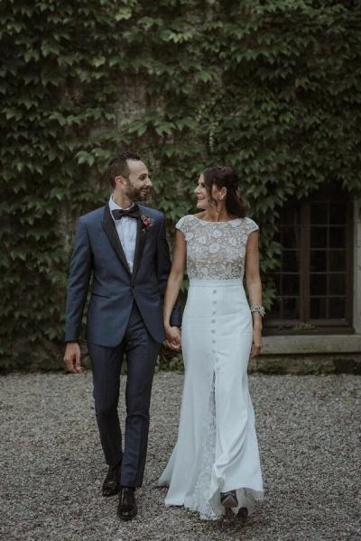 Cap Sleeve Open Back Lace Sheath Wedding Dress_6