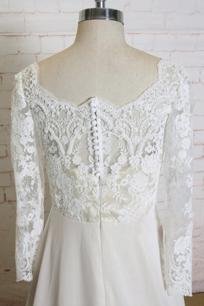 Appliques Long Sleeve Chiffon A-line Wedding Dress_5