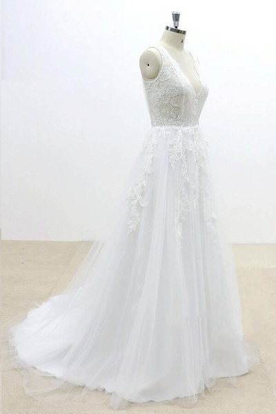Ruffle V-neck Appliques Tulle A-line Wedding Dress_4