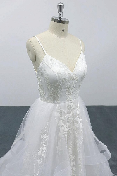 Best Appliques Spaghetti Strap Tulle Wedding Dress_6