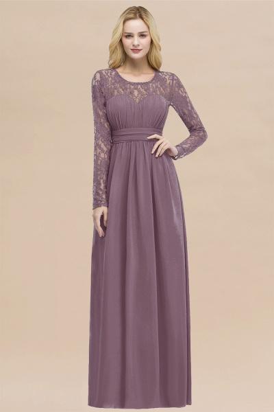 Elegant A-Line Chiffon Jewel Long Sleeves Ruffles Floor-Length Bridesmaid Dresses_43