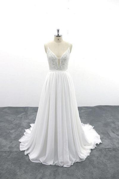 Spaghetti Strap Lace Chiffon A-line Wedding Dress_1