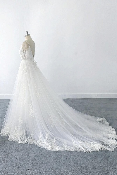 Amazing Ruffle Appliques Tulle A-line Wedding Dress_6