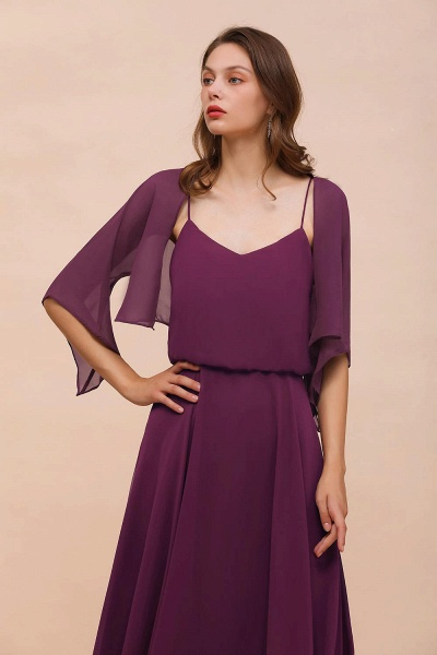 BM1089 3/4 Sleeves Grape Chiffon Special Occasions Wrap_7