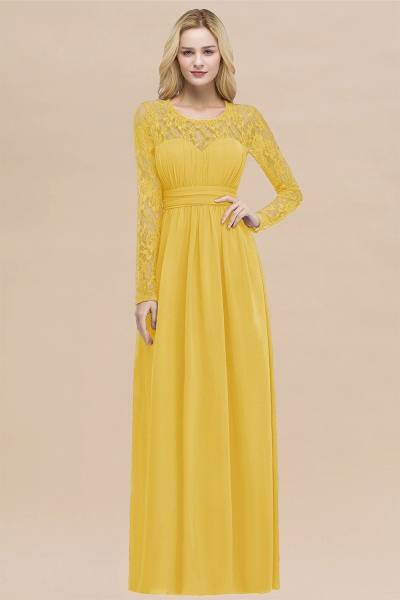 Elegant A-Line Chiffon Jewel Long Sleeves Ruffles Floor-Length Bridesmaid Dresses_17