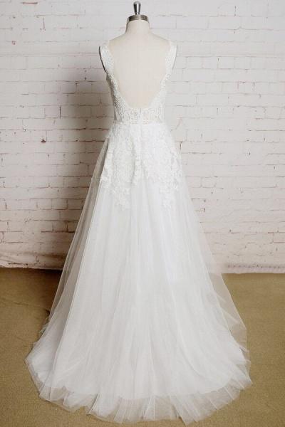 Chic V-neck Appliques Tulle A-line Wedding Dress_3
