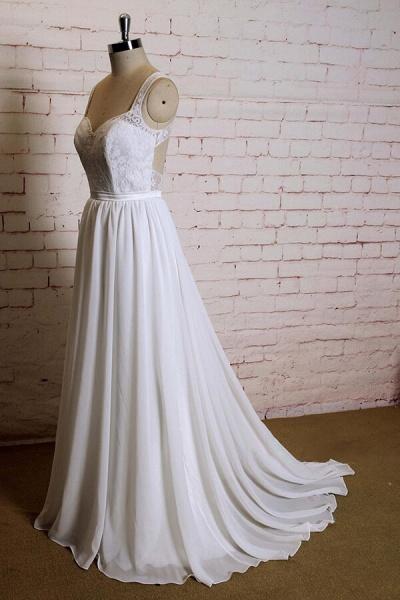 Sweetheart Lace Chiffon A-line Wedding Dress_4