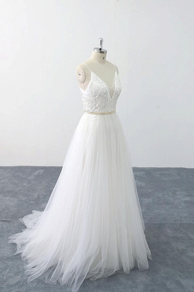Chic Spaghetti Strap Appliques Tulle Wedding Dress_4
