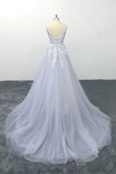 Applique Tulle Spaghetti Strap A-line Wedding Dress_3