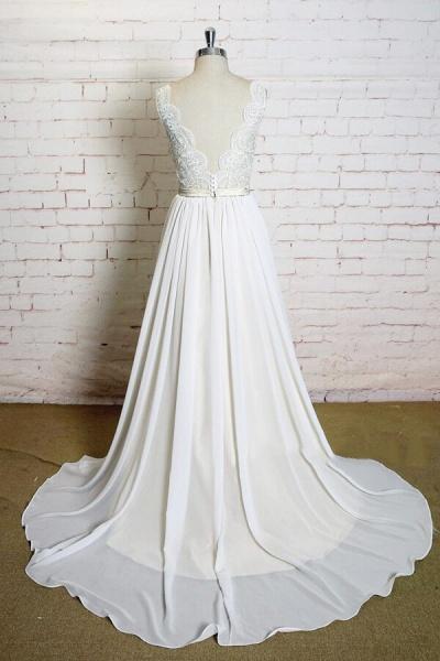 Latest V-neck Lace Chiffon A-line Wedding Dress_3
