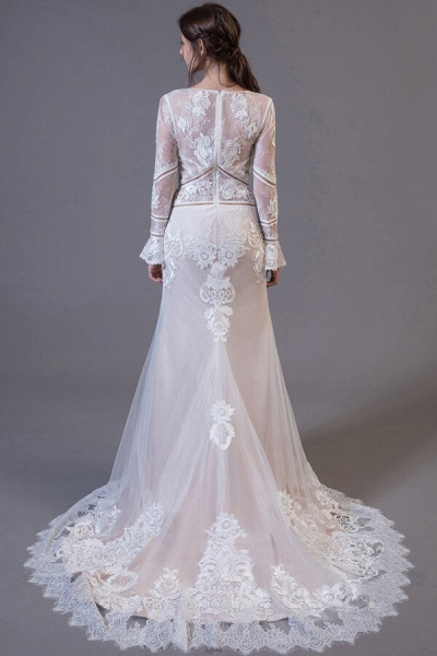Long Sleeve Appliques Tulle Sheath Wedding Dress_3