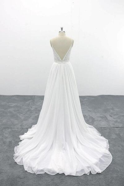 Spaghetti Strap Lace Chiffon A-line Wedding Dress_3