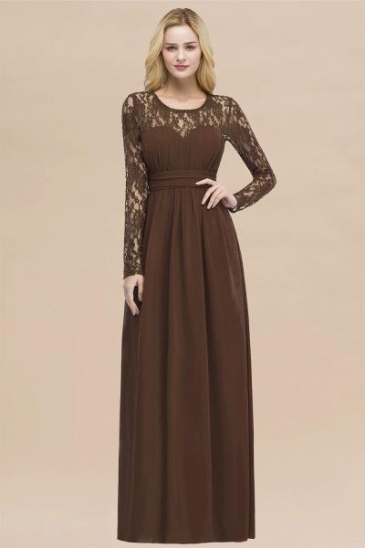 Elegant A-Line Chiffon Jewel Long Sleeves Ruffles Floor-Length Bridesmaid Dresses_12