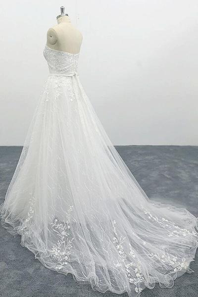 Strapless Tulle Chapel Train A-line Wedding Dress_5